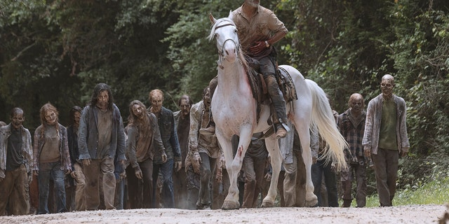 Andrew Lincoln as Rick Grimesin his final episode of 'The Walking Dead.'