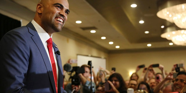 Democratic candidate Colin Allred speaks to supporters during an election night party after he was projected to win the Texas 32nd U.S. congressional house district at the Magnolia Hotel Dallas Park Cities in Dallas.