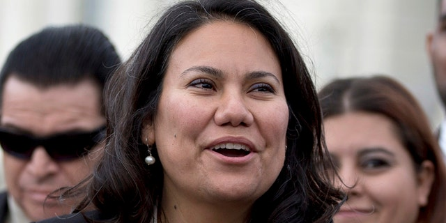 Veronica Escobar, center, and Sylvia Garcia became the first Hispanic women from Texas to be elected to Congress.