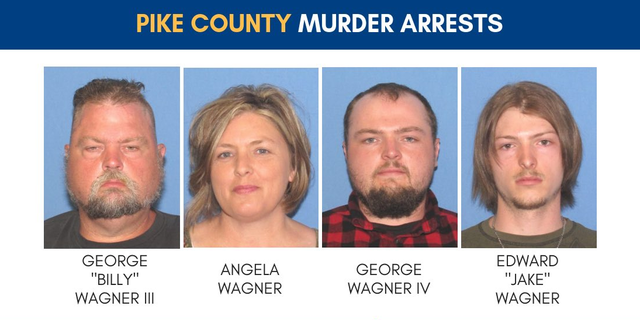 "George ""Billy"" Wagner III, Angela Wagner and sons George Wagner IV and Edward ""Jake"" Wagner were indicted by a grand jury on Monday, and were each charged with eight counts of aggravated murder, investigators said."