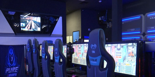 Pure eSports in Gilbert, Ariz., opened up recently this year and houses gaming counsels for teams like Saint Benedictine University - Mesa eSports team to use for practice.