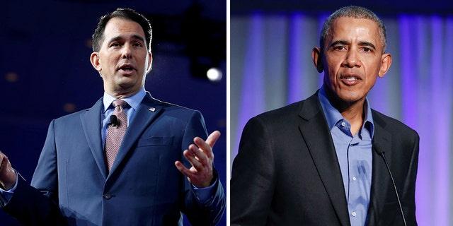 "Wisconsin Republican Gov. Scott Walker (left) on Thursday called former President Barack Obama (right) ""the biggest liar of the world."" (Reuters)"