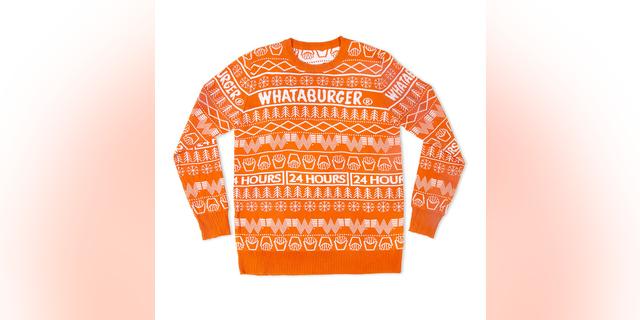 """""""This unisex Whataburger Christmas sweater is perfect for any holiday occasion — including eating at Whataburger,"""" the chain writes."""