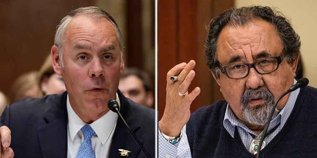 """Interior Secretary Ryan Zinke (left) ripped into Arizona Democratic Rep. Raúl Grijalva (right) on Friday and accused him of past """"drunken and hostile behavior"""" after the lawmaker called for the Cabinet member's resignation earlier in the day. (REUTERS/AP)"""