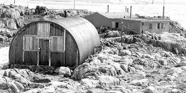 Base 'A' from the east, showing the Nissen hut. (Credit: Natural Environment Research Council)