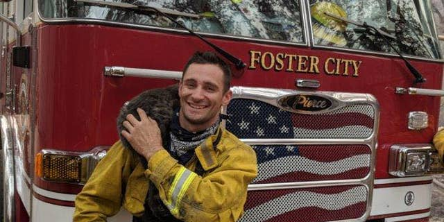 """Foster"" the cat was coaxed out of hiding by Firefighter Downing, and ""an instant friendship was formed.<br data-cke-eol=""1"">"