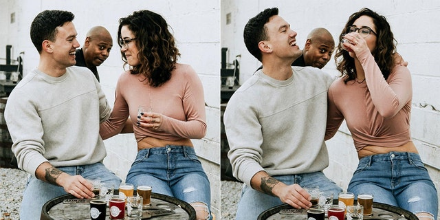 Thomas Saunders and Emily Eldridge's engagement shoot was photobombed by comedian Dave Chappelle.