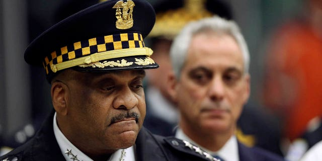 Chicago Police Superintendent Eddie Johnson, left, and Mayor Rahm Emanuel speak Monday, Nov. 19, 2018, during a news conference at the University of Chicago Medical Center, in Chicago.