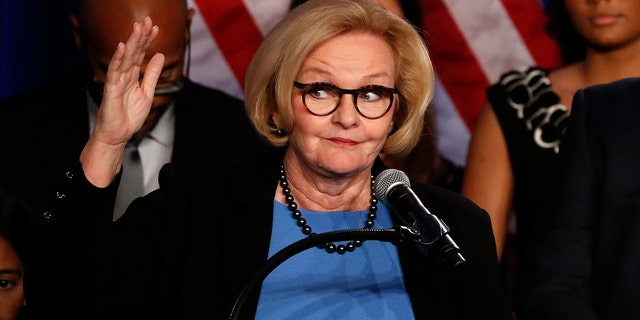 Sen. Claire McCaskill, D-Mo., delivers a concession speech Tuesday, Nov. 6, 2018, in St. Louis. (AP Photo/Jeff Roberson)