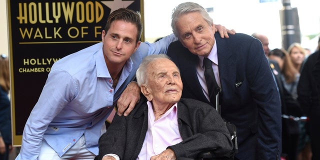 From left to right, Cameron Douglas, Kirk Douglas and Michael Douglas at the Hollywood Walk of Fame on Tuesday, Nov. 6, 2018.