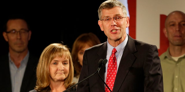 U.S. Rep. Erik Paulsen, running in Minnesota's 3rd Congressional District race, makes his concession speech at his Republican election night party, Tuesday, Nov. 6, 2018, in Bloomington, Minn. (AP Photo/Andy Clayton-King)