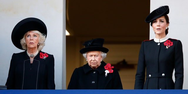 Camilla, Duchess of Cornwall, Queen Elizabeth II and Catherine, Duchess of Cambridge attend the annual Remembrance Sunday Service at The Cenotaph on November 11, 2018 in London, England.
