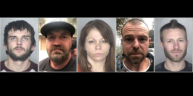 Shayne Tinnel Jr, Jason Burns, Tracey Sizer, Michael Salisbury, and Teddy King (Pictured left to right) have been arrested this week for crimes in the mandatory evacuation zone for the Camp Fire in Northern California, according to officials.