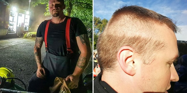 A firefighter got called out to an emergency mid-haircut, leaving him with an interesting look.