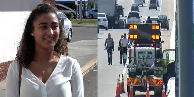 Nicole Oyola's words to a man on the edge of a bridge in Florida on Thursday helped prevent him from jumping.