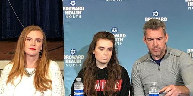 Maddy Wilford, 17, sitting between her parents, described her recovery after the Florida high school massacre during a news conference in February.