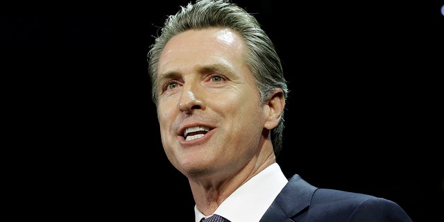 Lt. Gov. Gavin Newsom, a Democrat, addresses an election night crowd after he defeated Republican John Cox to become the 40th governor of California Tuesday, Nov. 6, 2018, in Los Angeles. (Associated Press)