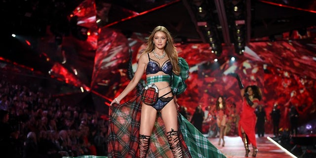 Model Gigi Hadid walks the runway during the 2018 Victoria's Secret Fashion Show at Pier 94 on Thursday, Nov. 8, 2018, in New York.