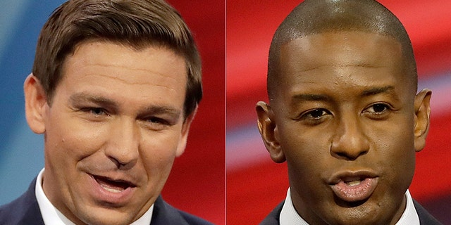 In Florida, the contest for governor between Republican Ron DeSantis (left) and Democrat Andrew Gillum (right) appeared all but over Thursday.