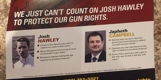 """One anonymous mailer criticizes Hawley's record on gun rights – despite the endorsement from National Rifle Association Political Victory Fund – claiming he won't """"protect our gun rights"""" and then asks to support Libertarian candidate Japheth Campbell."""