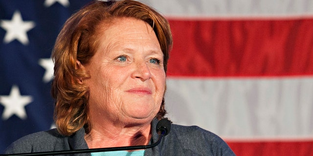 Sen. Heidi Heitkamp, D-N.D., addresses supporters at an election night watch party on Tuesday, Nov. 6, in West Fargo, N.D. Republican Rep. Kevin Cramer defeated Heitkamp. (AP Photo/Ann Arbor Miller)