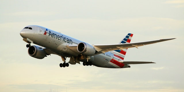 Los Angeles, CA, USA - Jan 02, 2016: American Airlines Boeing 787-8 Dreamliner (Registration No. N804AN) taking off at LAX Airport.