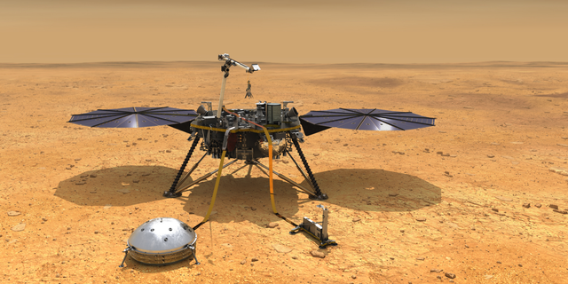 An artist's depiction of the Mars InSight lander on Elysium Planitia, where it will land on Nov. 26.