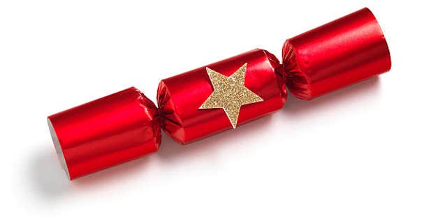 Isolated Red Christmas Cracker on white