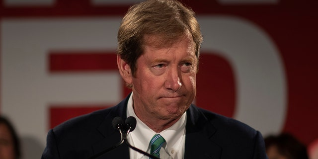 U.S. Congressman Jason Lewis gave his concession speech Tuesday, Nov. 6, 2018. (Jerry Holt/Star Tribune via AP)