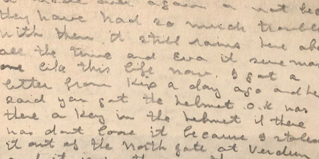 Maker mentions the key he took from Verdun in a letter to his sister, Eva.