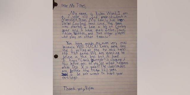 """RylanWood,7, writes to Jones that his mom was very mad because """"we suck."""""""