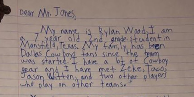 Rylan Wood, 7, writes to Jones that his mom was really insane since we suck.