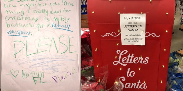 A girl wrotea letter to Santa asking for a kidney for her big brother.