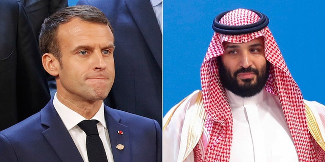 French President Emmanuel Macron, left, and Saudi Crown Prince Mohammed bin Salman and the G20 Leader's Summit in Buenos Aires, Argentina.