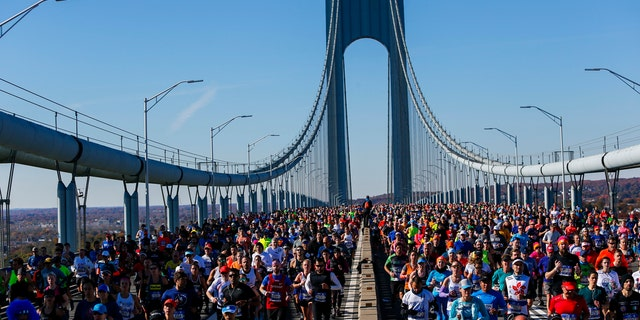 Runners as they cross the Verrazano-Narrows Bridge during the New York City Marathon on Sunday, Nov. 4, 2018, in New York.