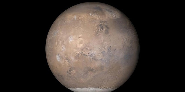 The view of Mars shown here was assembled from MOC daily global images obtained on May 12, 2003. (Credit: NASA/JPL/Malin Space Science Systems)