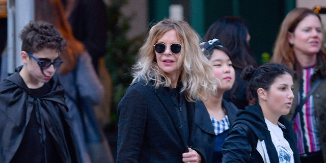 Meg Ryan seen out for Halloween on October 31, 2018 in New York City.