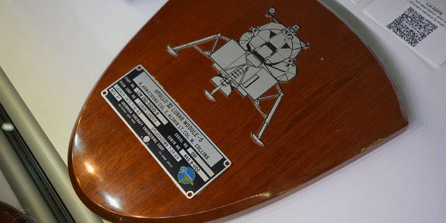 """A spacecraft ID plate from the Apollo lunar module """"Eagle"""" led the sale of the Armstrong Family Auction with a sale price of $468,500 at Heritage Auctions in Dallas on Nov. 1, 2018."""