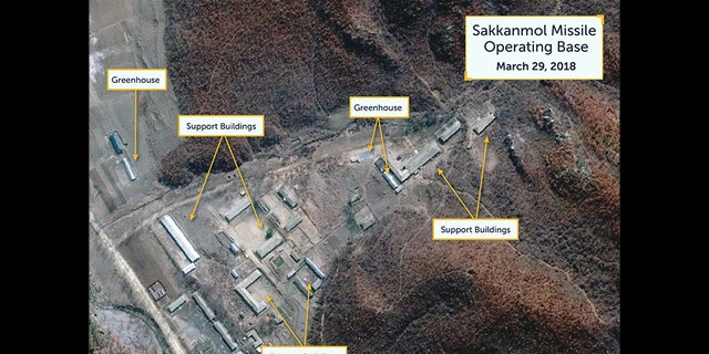 The satellite image of the base in Sakkanmol, just shy of 50 miles north of the DMZ, show support facilities.