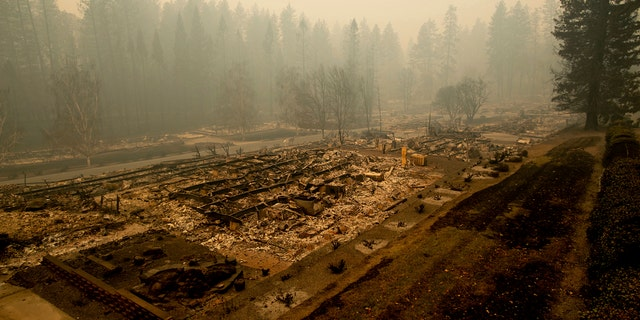 Residences were burned down in a mobile home park on Edgewood Lane after the Camp Fire tore through Paradise, California.
