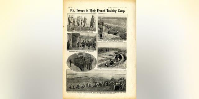 US servicemen can be seen traveling to the U.K. and training in trench warfare in the French countryside.