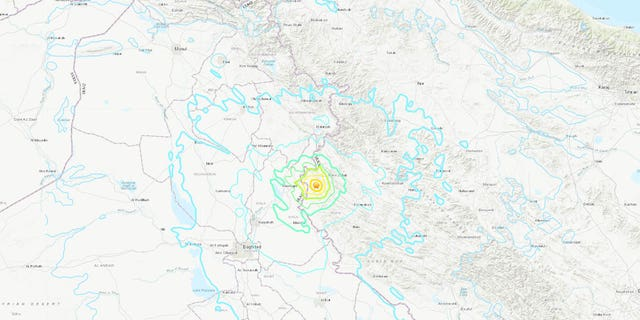 The location of the earthquake in Western Iran on Sunday.