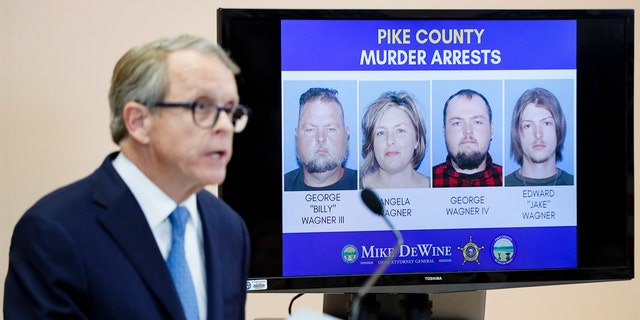 Ohio Attorney General Mike DeWine announces the arrest of a family of four in the killings of the Rhoden family in Ohio.