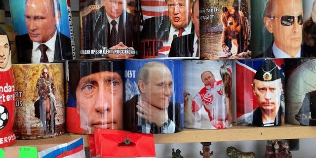 President Putin remains a souvenir mainstay in the streets of Saint Petersburg, Russia