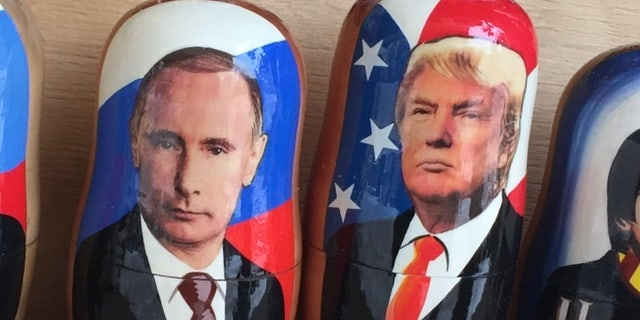 Putin and Trump souvenirs for sale in Moscow