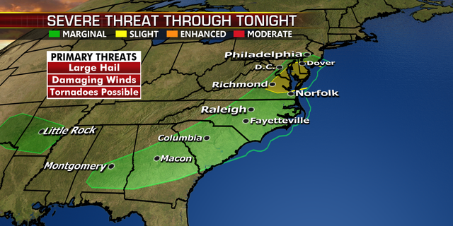 The threat for severe weather spans from the Southeast to the Mid-Atlantic.