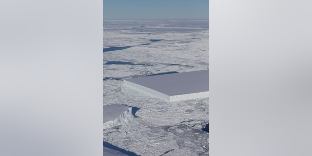 NASA's IceBridge project captured this view of a strange rectangular-shaped iceberg in Antarctica in October 2018.