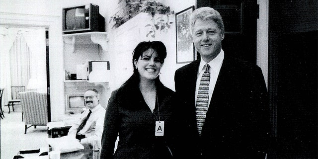 A photograph showing former White House intern Monica Lewinsky meeting President Bill Clinton at a White House function submitted as evidence in documents by the Starr investigation and released by the House Judicary committee Sept. 21, 1998.