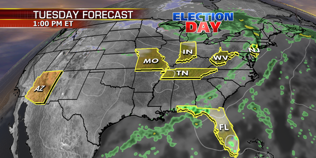 The forecast for Tuesday in states with key Senate races.