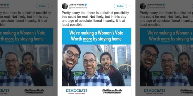 "The meme that Woods posted in July said #LetWomenDecide and #NoMenMidterm. Woods acknowledged the tweet was ""not likely"" real."